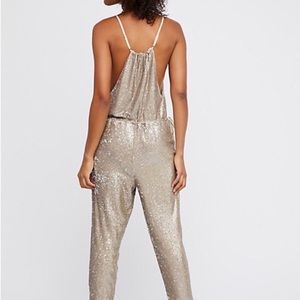 Free People Pants Nwt Sequin Jumpsuit Xs Poshmark